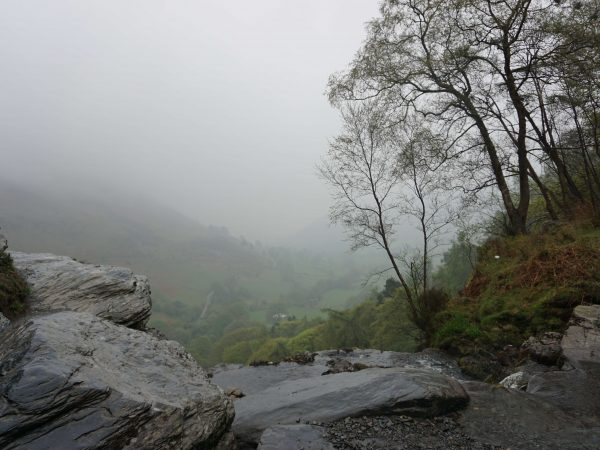 A rainy walk to the top of Pistyll Rhaeadr waterfall