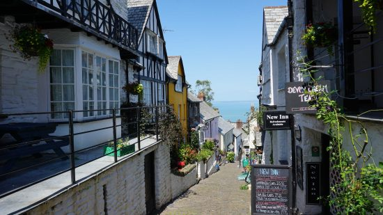 Walking the cobbled streets in Clovelly, North Devon